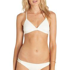 Women's Billabong It's About Triangle Bikini Top ($55) ❤ liked on Polyvore featuring swimwear, bikinis, bikini tops, seashell, shell bikini, crochet bikini top, macrame bikini, seashell bikini top and triangle bikini top