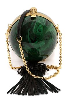 Alexander McQueen Sphere Skull Clutch in Green Plexiglass