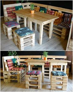 The outdoor furniture is probably as much important as the indoor for it provides you with a choice to breathe fresh air and do some meditation to feel relax. This reused wood pallet patio bench and stool along with tables to harbor more persons to join you in your evenings.