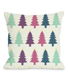 Take a look at this Ivory Festive Trees Pillow by OneBellaCasa on #zulily today!