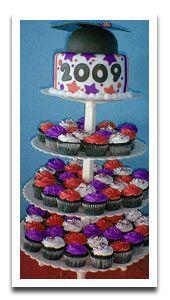 Graduation Cap and School Color Cupcake Tower, filled cupcakes maybe? Graduation Cap and School Color Cupcake Tower, filled cupcakes maybe? Graduation Table Centerpieces, Graduation Decorations, Graduation Ideas, College Graduation, Birthday Themes For Boys, Boy Birthday, Metallic Balloons, Buffet, Graduation Cupcakes