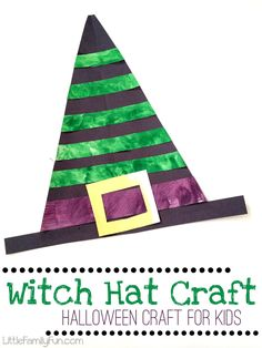 Witch Hat Craft for kids. Fun and easy craft for Halloween! halloween crafts for kids Scary Halloween Crafts, Theme Halloween, Halloween Crafts For Toddlers, Halloween Hats, Toddler Halloween, Halloween Activities, Toddler Crafts, Preschool Crafts, Halloween Week