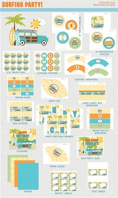 Surfing Birthday Party Printables Package Personalized Printable Decorations & Kits Design No. 542