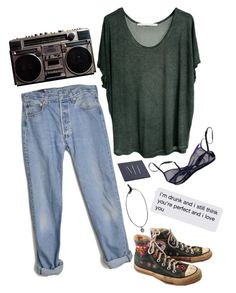 """""""katherine kiss me"""" by whaaa ❤ liked on Polyvore featuring Levi's, Converse, The Lake & Stars, women's clothing, women's fashion, women, female, woman, misses and juniors"""