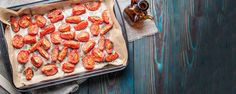 These naturally sweet & savory oven dried tomatoes are delicious in pasta, salads, quiche and other recipes. Oven Dried Tomatoes, Small Tomatoes, Cherry Tomatoes, Tomato Growers, Kitchen Time, Other Recipes, Sausage, Good Food, Tasty
