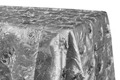 """Flower on Sequin Taffeta Rectangular Tablecloth 90""""x132"""" - Silver ● $45.99 ● Available from www.cvlinens.com"""