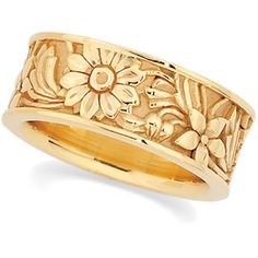 14k Yellow Gold Floral Wedding Band. One of my favorites! #wedding
