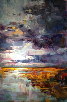 "Rough Skies, oil, 28""x 38"", original on canvas, annepharkness@gmailcom"