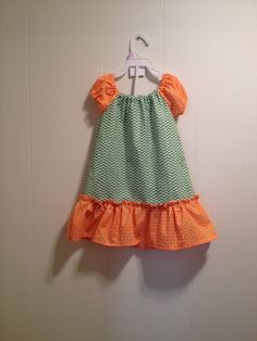 Green chevron and orange polka for dress facebook.com/shayscreations2012