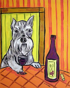 schnauzer wine picture DOG ANIMAL art print 13x19