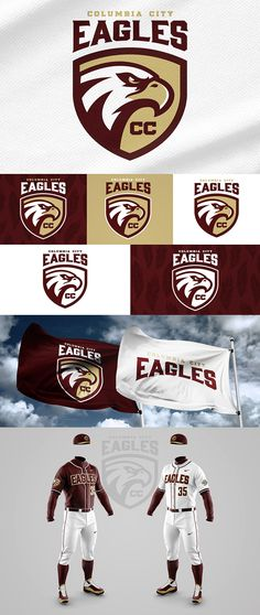 This is a conceptual identity rebrand project for Columbia City High School designed by Wes Teska. Logo Basketball, Football Team Logos, Sports Logos, Identity Design, Logo Design, Brand Design, Eagle Sports, Columbia City, Eagle Logo