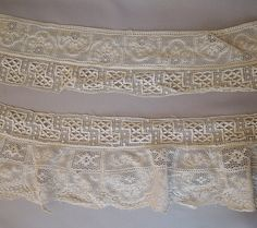 2 Matching Antique Lace Trims 3-4+ inches wide, 3 yards, 1800s 1900s Victorian Edwardian dress trim by dandelionvintage on Etsy