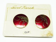 """New Listings Daily - Follow Us for UpDates -  Vintage Laurel Burch Earrings - Round Red Pin with Birds signed """"Celestial Birds"""" - Pop Art - Mod Art Enamel Burgandy Wine Red offered by #TheJewelSeeker on Etsy  Style:  Th... #vintage #jewelry #teamlove #etsyretwt"""