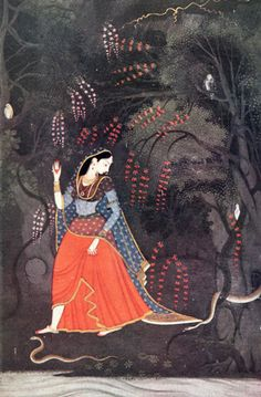 A Night of Storm. Nayika, going through the dark to meet her lover. Garhwal, c. 1780.