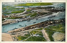 Looking across from San Pedro toward what would become Terminal Island (filled in as a Navy Base). One of the Catalina Steamships is coming down the channel.  In the distance is the LA River entrance to Long Beach Harbor. Probably about 1937.