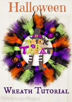 Tutu Halloween Wreath Tutorial for a great Halloween Crafts afternoon
