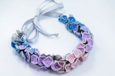Art Necklace, Pink, Purple, Blue, Flower Necklac Statement Necklace Wedding Party Jewelry
