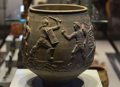 """mostly-history: """" """" The Colchester Vase (c. 175 AD), found in a Roman grave at West Lodge in Colchester (England). """" Depicted on the base are four gladiators, with their names inscribed above them:. Ancient Rome, Ancient Art, Ancient History, Ancient Greek, Mycenaean, Minoan, Roman Drawings, Colchester Castle, Art Romain"""