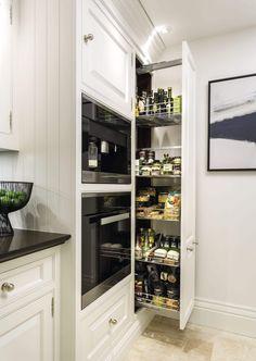 Classic white kitchen with pull out larder - Modern Kitchen Larder Cupboard, Larder Unit, Tidy Kitchen, Kitchen Room Design, Kitchen Pulls, Narrow Kitchen, Kitchen Shelves, Kitchen Decor, Kitchen Units