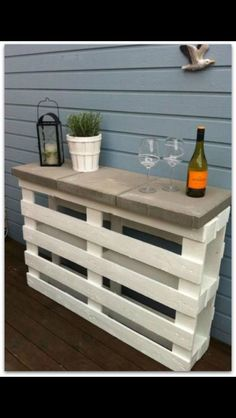 I think I would take out the 2nd and 4th slats on the front pallet and use them to make shelves on the bottom and 3rd slats of both pallets! Love!