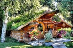 A forest house in Norway? Gorgeous log cabin with a sod roof. A forest house in Norway? Gorgeous log cabin with a sod roof. Casa Dos Hobbits, Living Roofs, Log Cabin Homes, Log Cabins, Rustic Cabins, Forest House, Forest Cottage, Woodland House, Fairytale Cottage