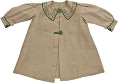 linen embroidered English 'aesthetic movement' child's smock ... c. 1887