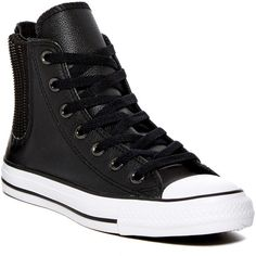 Converse Chuck Taylor All Star Chelsee Hi Top Sneaker (Women) (787.105 IDR) ❤ liked on Polyvore featuring shoes, sneakers, black, black shoes, black hi top sneakers, lace up sneakers, converse shoes and high top sneakers