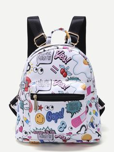SheIn offers White Cartoon Print Pocket Front PU Backpack & more to fit your fashionable needs. Pretty Backpacks, Cute Mini Backpacks, Stylish Backpacks, Girl Backpacks, Fashion Bags, Fashion Backpack, Sacs Design, Back Bag, Girls Bags