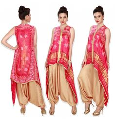 Pink bandhani kurti matched with beige aladdin pants