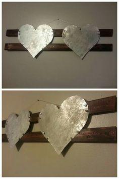 Wood, Aluminium, two hearts