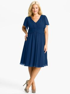 A-Line/Princess V-neck Pleats Short Sleeves Tea-Length Chiffon Mother of the Bride Dresses