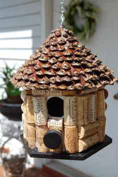 Pine Cone Roof & Wine Cork Bird House by TikiCommander on Etsy