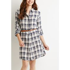 Love 21 Belted Plaid Shirt Dress ($25) ❤ liked on Polyvore