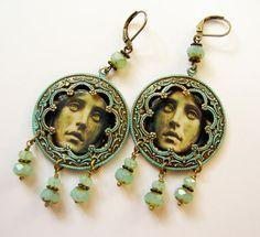 Madam Leota Earrings. Mansion Earrings. Verdigris Earrings. Brass or Silver - Your Choice - Leota tombstone earrings - Haunted Halloween