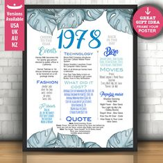 40th birthday poster for her, 40th birthday sign for women, tropical birthday poster, birthday chalkboard floral, Personalized