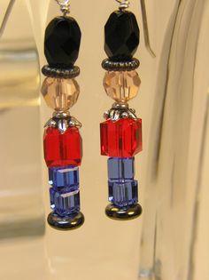Nutcracker earrings made of Swarovski crystals.
