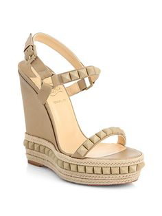 Dreaming - Christian Louboutin - Cataclou Studded Leather Wedge Sandals - Saks.com