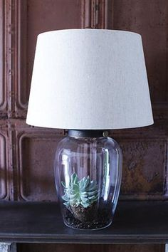Fillable Glass Lamp w/Shade