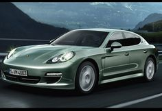 Porsche Panamera S Hybrid. Classically cool green car.