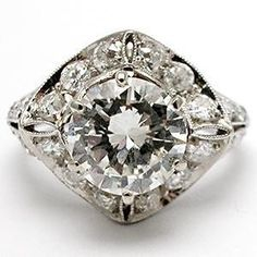 Vintage Diamond Engagement Ring w/Antique Art Deco Old Europ ...