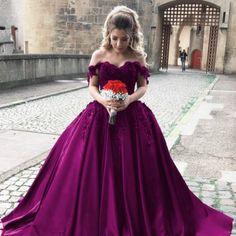 Cheap wedding dresses,satin wedding gowns,off shoulder bride dress,elegant wedding dress,ball gowns wedding dresses,grape ball gowns