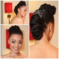 This style can be achieved with your own hair or with loose, kinky-textured hair to add bulk to the twists. Avoid water-based hair products on the morning of the wedding. These will make edges frizz faster.