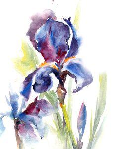 Watercolor Painting Art Print, Irises Painting, Blue Purple, Flowers Wall Art