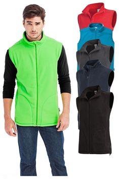 Mens RED GREEN BLUE GREY Breathable Lightweight Full Zip Micro Fleece Vest Gilet