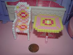 3D Table and chair perler beads by Serendipity
