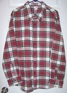 """2 Mens """"Open Trails"""" Flannel Plaid Shirts XL Long Sleeve Red Black Brown White"""