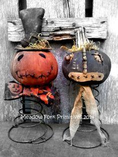 Primitive Folk Art Pumpkin Nodders by MeadowForkPrims on Etsy, $5.00