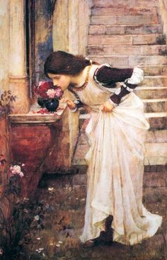 At the Shrine, Oil by John William Waterhouse (1849-1917, Italy)