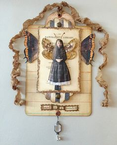 Fairy Child Assemblage, Miniature Collage, Small Girl with Fairy Wings, Mixed Media Art Collage, Fantasy Fairy Artwork, Brown and Orange