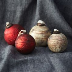 """Subtle texture pairs with an aged finish on this glass globe.- Glass, metal cap- Indoor use only- Hanging loop: 0.6""""- ImportedSmall: 4.8""""H, 4"""" diameterLarge: 5.75""""H, 4.6"""" diameter"""